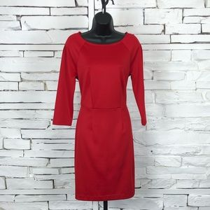 The Limited Red Long Sleeve Scoop Neck Dress 2098
